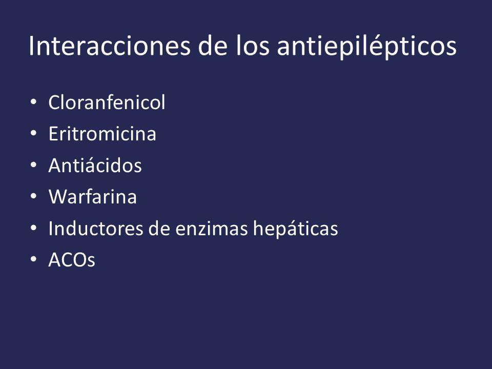 Interacciones de los antiepilépticos Cloranfenicol Eritromicina Antiácidos Warfarina Inductores de enzimas hepáticas ACOs