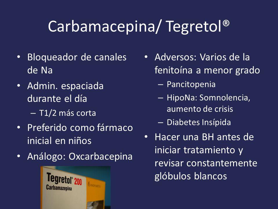 Carbamacepina/ Tegretol® Bloqueador de canales de Na Admin.