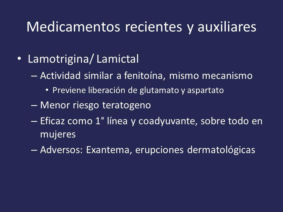 Medicamentos recientes y auxiliares Lamotrigina/ Lamictal – Actividad similar a fenitoína, mismo mecanismo Previene liberación de glutamato y aspartato – Menor riesgo teratogeno – Eficaz como 1° línea y coadyuvante, sobre todo en mujeres – Adversos: Exantema, erupciones dermatológicas