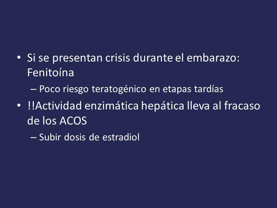 Si se presentan crisis durante el embarazo: Fenitoína – Poco riesgo teratogénico en etapas tardías !!Actividad enzimática hepática lleva al fracaso de los ACOS – Subir dosis de estradiol