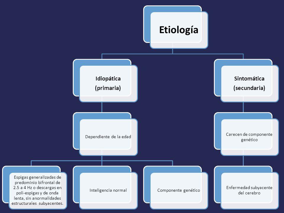 Etiología Idiopática (primaria) Dependiente de la edad Espigas generalizadas de predominio bifrontal de 2.5 a 4 Hz o descargas en poli-espigas y de onda lenta, sin anormalidades estructurales subyacentes.