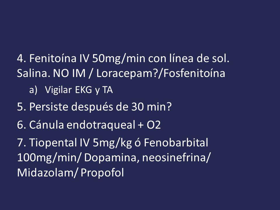 4.Fenitoína IV 50mg/min con línea de sol. Salina.
