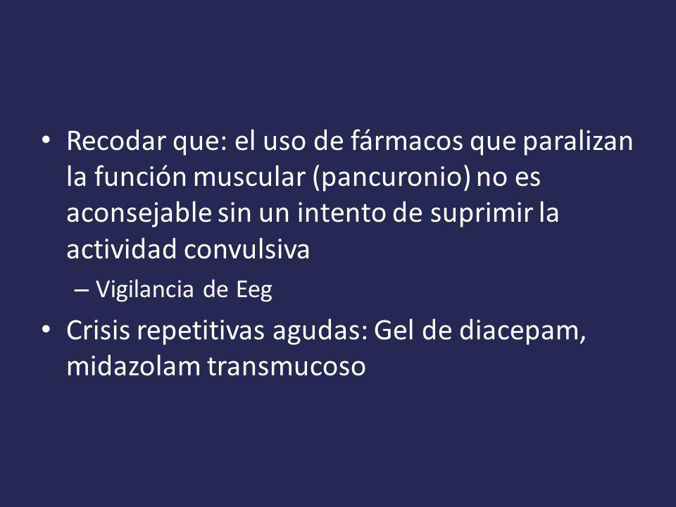 Recodar que: el uso de fármacos que paralizan la función muscular (pancuronio) no es aconsejable sin un intento de suprimir la actividad convulsiva – Vigilancia de Eeg Crisis repetitivas agudas: Gel de diacepam, midazolam transmucoso