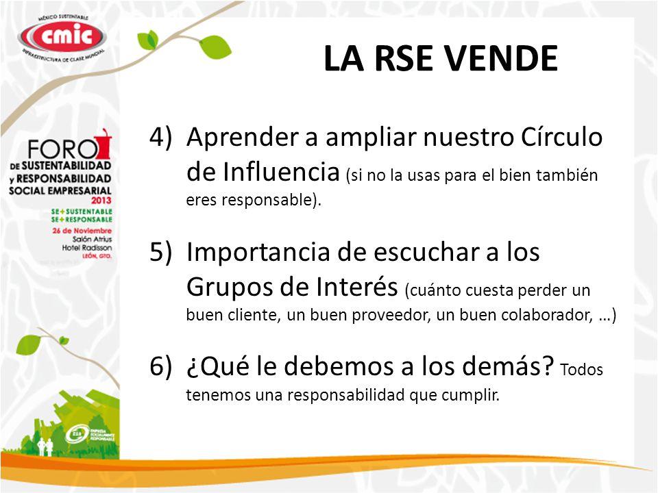 LA RSE VENDE 4)Aprender a ampliar nuestro Círculo de Influencia (si no la usas para el bien también eres responsable). 5)Importancia de escuchar a los