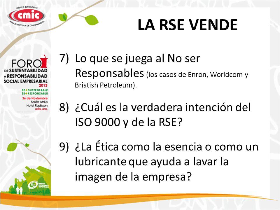 LA RSE VENDE 7)Lo que se juega al No ser Responsables (los casos de Enron, Worldcom y Bristish Petroleum). 8)¿Cuál es la verdadera intención del ISO 9