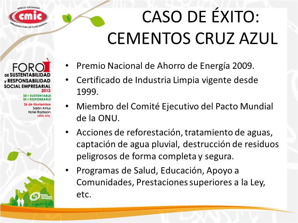 CASO DE ÉXITO: CEMENTOS CRUZ AZUL Premio Nacional de Ahorro de Energía 2009. Certificado de Industria Limpia vigente desde 1999. Miembro del Comité Ej