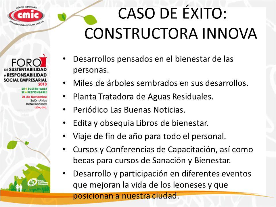 CASO DE ÉXITO: CONSTRUCTORA INNOVA Desarrollos pensados en el bienestar de las personas. Miles de árboles sembrados en sus desarrollos. Planta Tratado