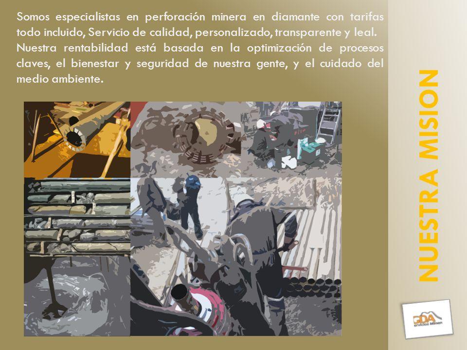 Somos especialistas en perforación minera en diamante con tarifas todo incluido, Servicio de calidad, personalizado, transparente y leal.
