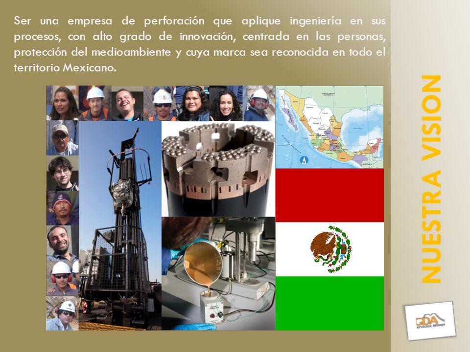 Ser una empresa de perforación que aplique ingeniería en sus procesos, con alto grado de innovación, centrada en las personas, protección del medioambiente y cuya marca sea reconocida en todo el territorio Mexicano.