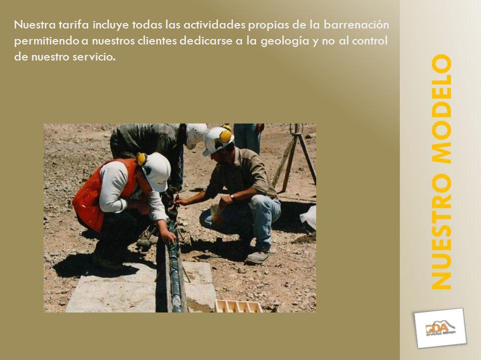 Nuestra tarifa incluye todas las actividades propias de la barrenación permitiendo a nuestros clientes dedicarse a la geología y no al control de nuestro servicio.