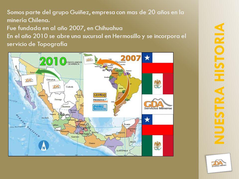 NUESTRA HISTORIA Somos parte del grupo Guiñez, empresa con mas de 20 años en la minería Chilena.