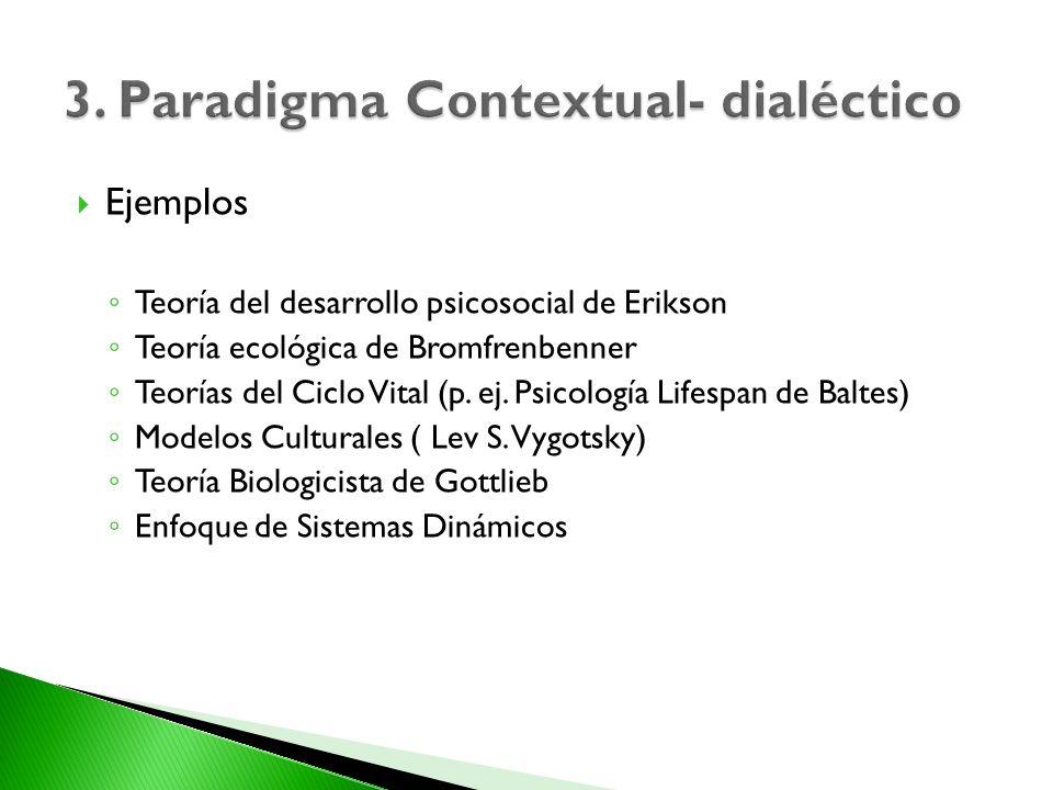 Ejemplos Teoría del desarrollo psicosocial de Erikson Teoría ecológica de Bromfrenbenner Teorías del Ciclo Vital (p. ej. Psicología Lifespan de Baltes