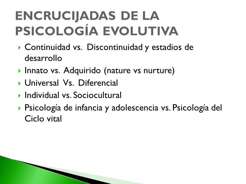 Continuidad vs. Discontinuidad y estadios de desarrollo Innato vs. Adquirido (nature vs nurture) Universal Vs. Diferencial Individual vs. Sociocultura