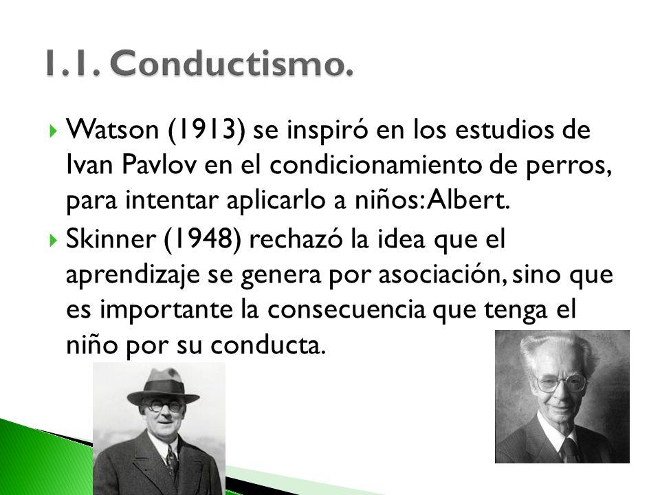 Watson (1913) se inspiró en los estudios de Ivan Pavlov en el condicionamiento de perros, para intentar aplicarlo a niños: Albert. Skinner (1948) rech