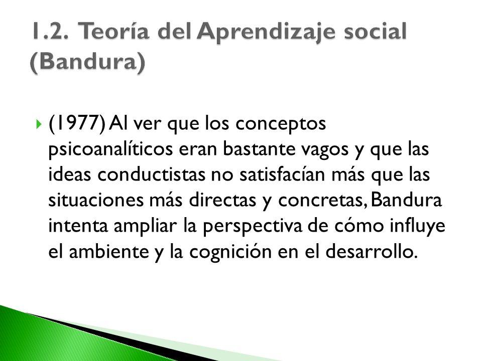 (1977) Al ver que los conceptos psicoanalíticos eran bastante vagos y que las ideas conductistas no satisfacían más que las situaciones más directas y