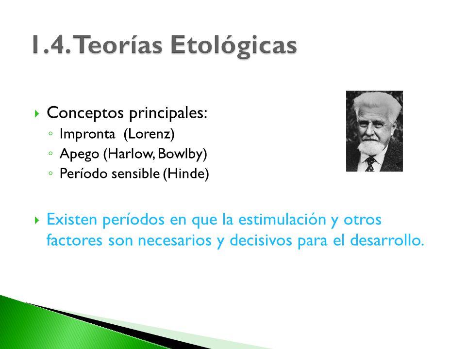 Conceptos principales: Impronta (Lorenz) Apego (Harlow, Bowlby) Período sensible (Hinde) Existen períodos en que la estimulación y otros factores son