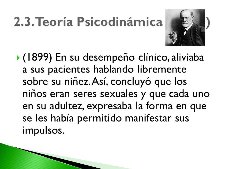 (1899) En su desempeño clínico, aliviaba a sus pacientes hablando libremente sobre su niñez. Así, concluyó que los niños eran seres sexuales y que cad