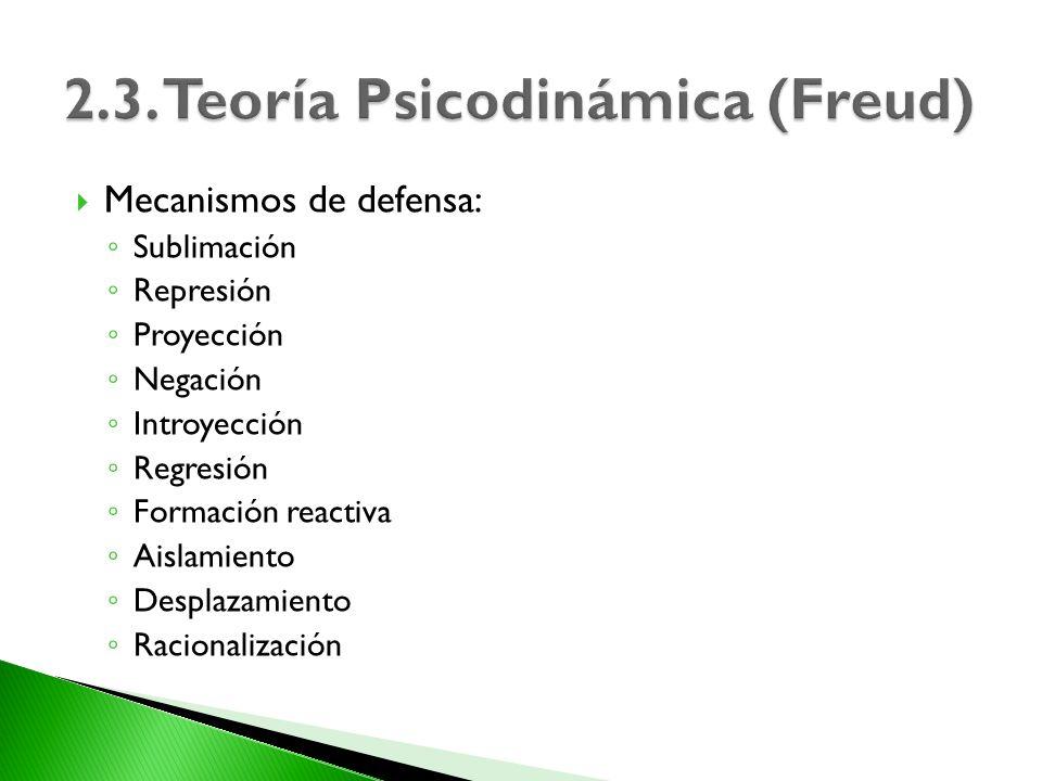 Mecanismos de defensa: Sublimación Represión Proyección Negación Introyección Regresión Formación reactiva Aislamiento Desplazamiento Racionalización