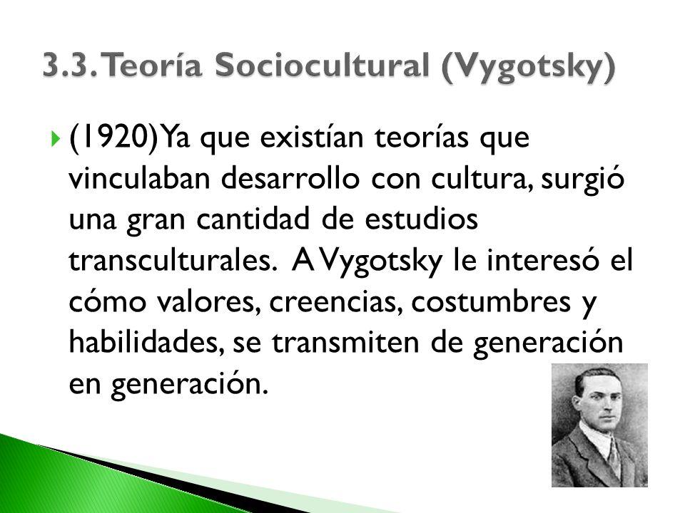 (1920)Ya que existían teorías que vinculaban desarrollo con cultura, surgió una gran cantidad de estudios transculturales. A Vygotsky le interesó el c
