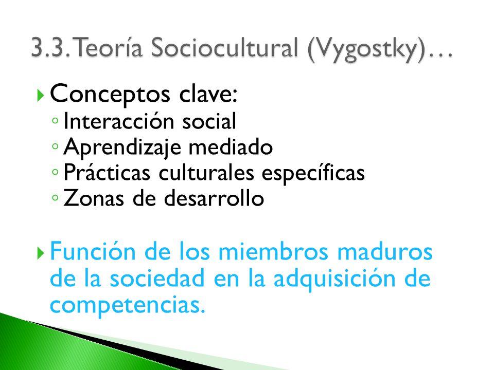 Conceptos clave: Interacción social Aprendizaje mediado Prácticas culturales específicas Zonas de desarrollo Función de los miembros maduros de la soc