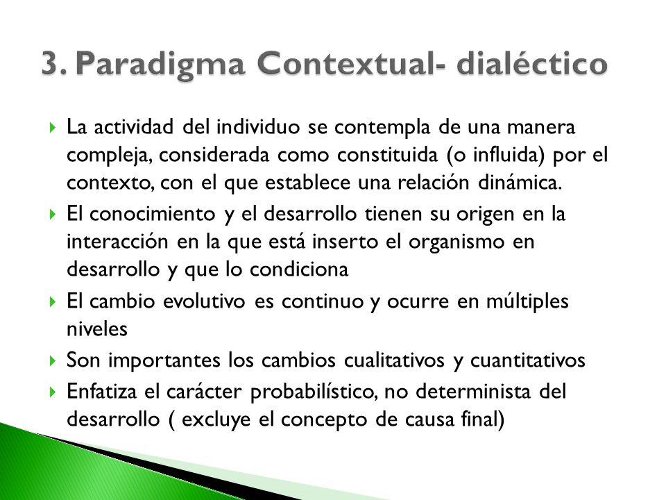 La actividad del individuo se contempla de una manera compleja, considerada como constituida (o influida) por el contexto, con el que establece una re