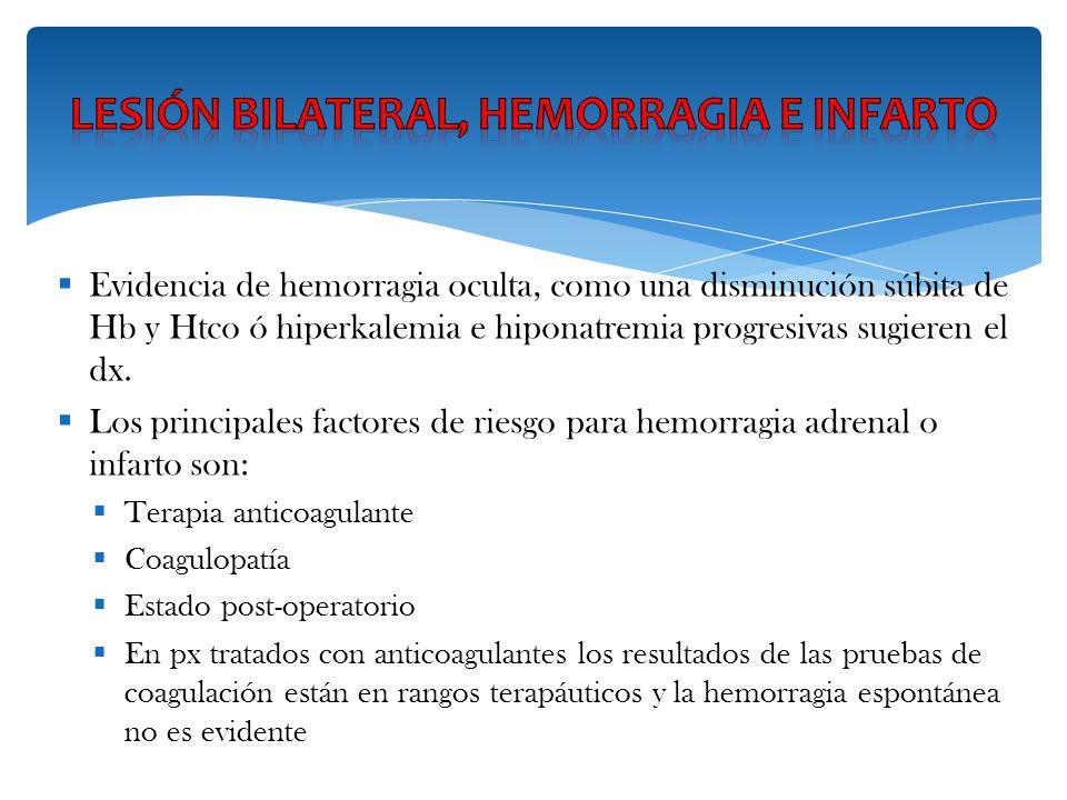 Evidencia de hemorragia oculta, como una disminución súbita de Hb y Htco ó hiperkalemia e hiponatremia progresivas sugieren el dx. Los principales fac