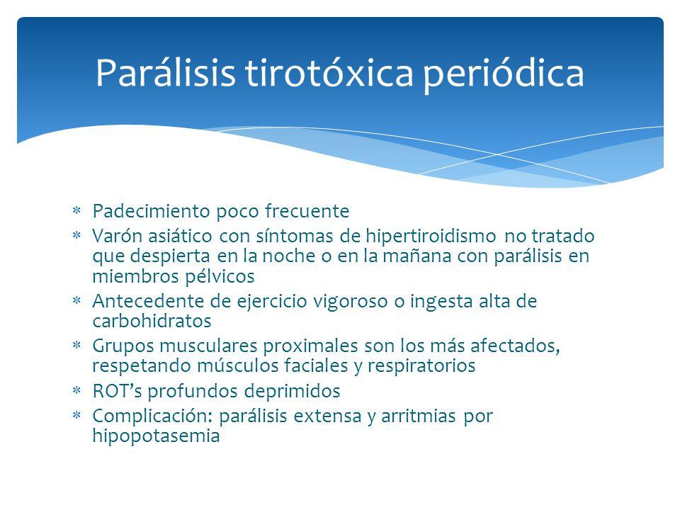 Parálisis tirotóxica periódica Padecimiento poco frecuente Varón asiático con síntomas de hipertiroidismo no tratado que despierta en la noche o en la