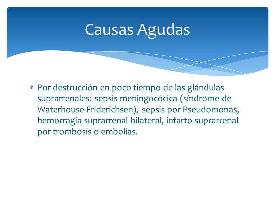 Por destrucción en poco tiempo de las glándulas suprarrenales: sepsis meningocócica (síndrome de Waterhouse-Friderichsen), sepsis por Pseudomonas, hem