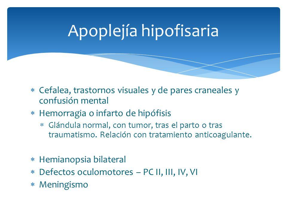 Apoplejía hipofisaria Cefalea, trastornos visuales y de pares craneales y confusión mental Hemorragia o infarto de hipófisis Glándula normal, con tumo
