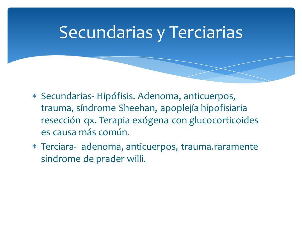 Secundarias- Hipófisis. Adenoma, anticuerpos, trauma, síndrome Sheehan, apoplejía hipofisiaria resección qx. Terapia exógena con glucocorticoides es c