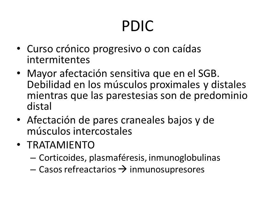 PDIC Curso crónico progresivo o con caídas intermitentes Mayor afectación sensitiva que en el SGB. Debilidad en los músculos proximales y distales mie