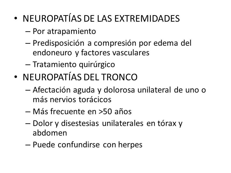 NEUROPATÍAS DE LAS EXTREMIDADES – Por atrapamiento – Predisposición a compresión por edema del endoneuro y factores vasculares – Tratamiento quirúrgic