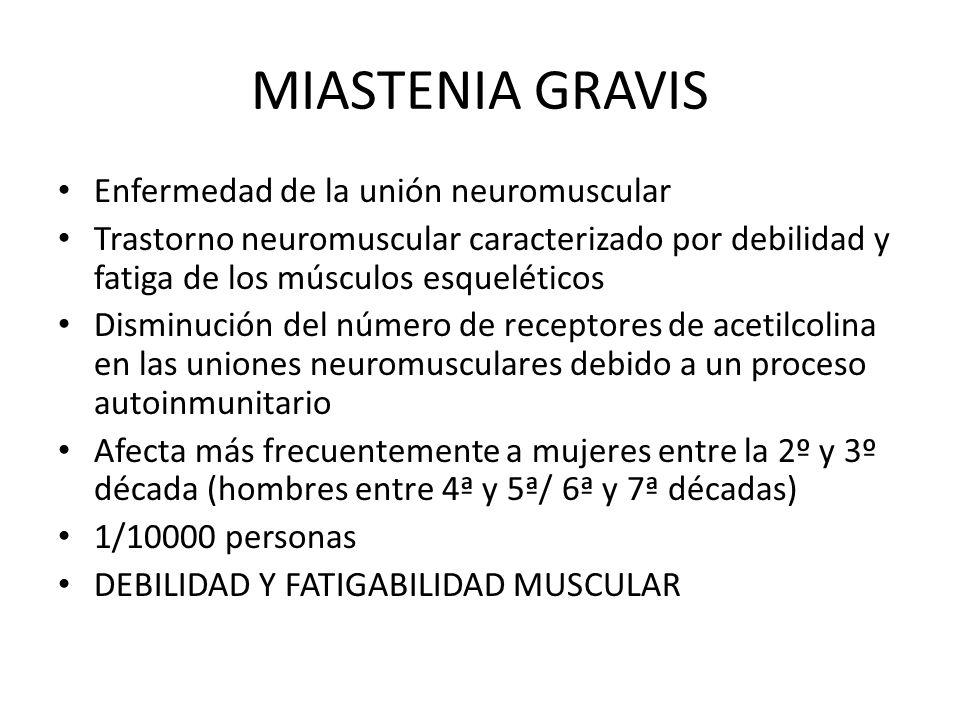 MIASTENIA GRAVIS Enfermedad de la unión neuromuscular Trastorno neuromuscular caracterizado por debilidad y fatiga de los músculos esqueléticos Dismin