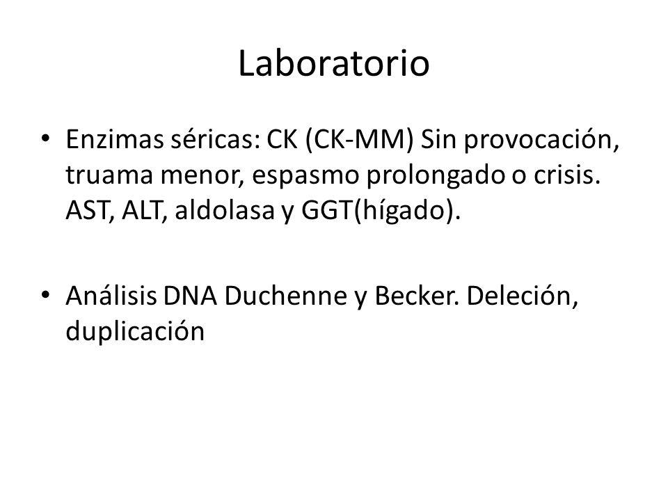 Laboratorio Enzimas séricas: CK (CK-MM) Sin provocación, truama menor, espasmo prolongado o crisis. AST, ALT, aldolasa y GGT(hígado). Análisis DNA Duc