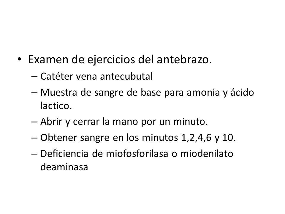 Examen de ejercicios del antebrazo. – Catéter vena antecubutal – Muestra de sangre de base para amonia y ácido lactico. – Abrir y cerrar la mano por u