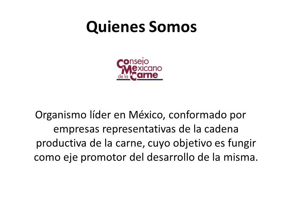Quienes Somos Organismo líder en México, conformado por empresas representativas de la cadena productiva de la carne, cuyo objetivo es fungir como eje promotor del desarrollo de la misma.