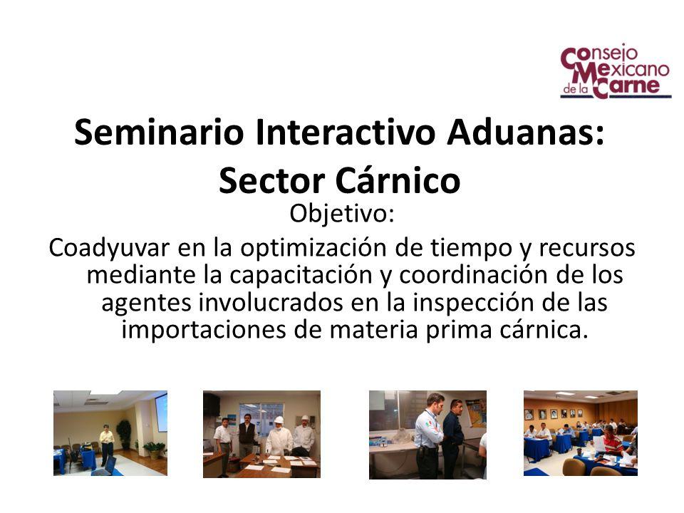 Seminario Interactivo Aduanas: Sector Cárnico Objetivo: Coadyuvar en la optimización de tiempo y recursos mediante la capacitación y coordinación de los agentes involucrados en la inspección de las importaciones de materia prima cárnica.