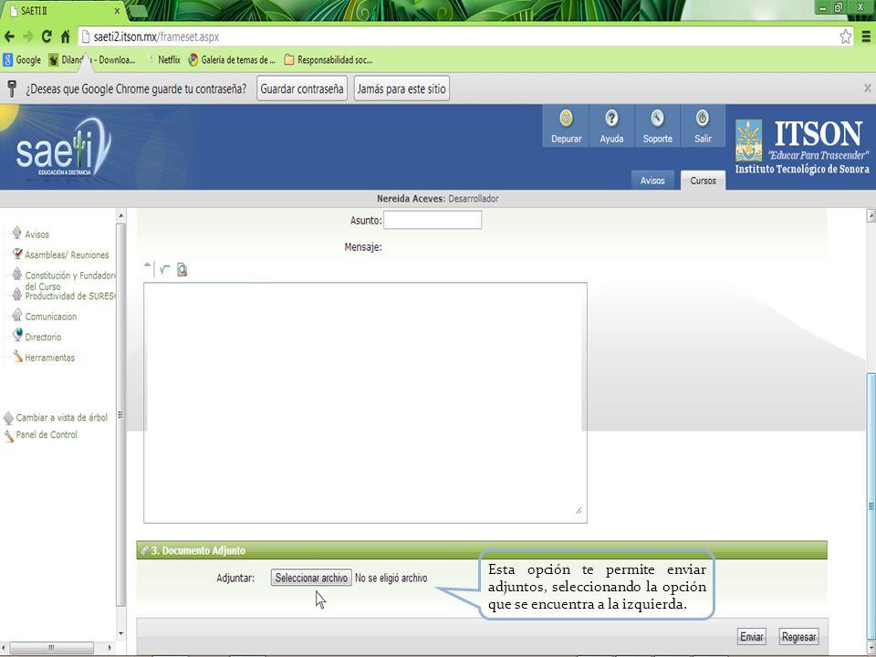 Esta opción te permite enviar adjuntos, seleccionando la opción que se encuentra a la izquierda.