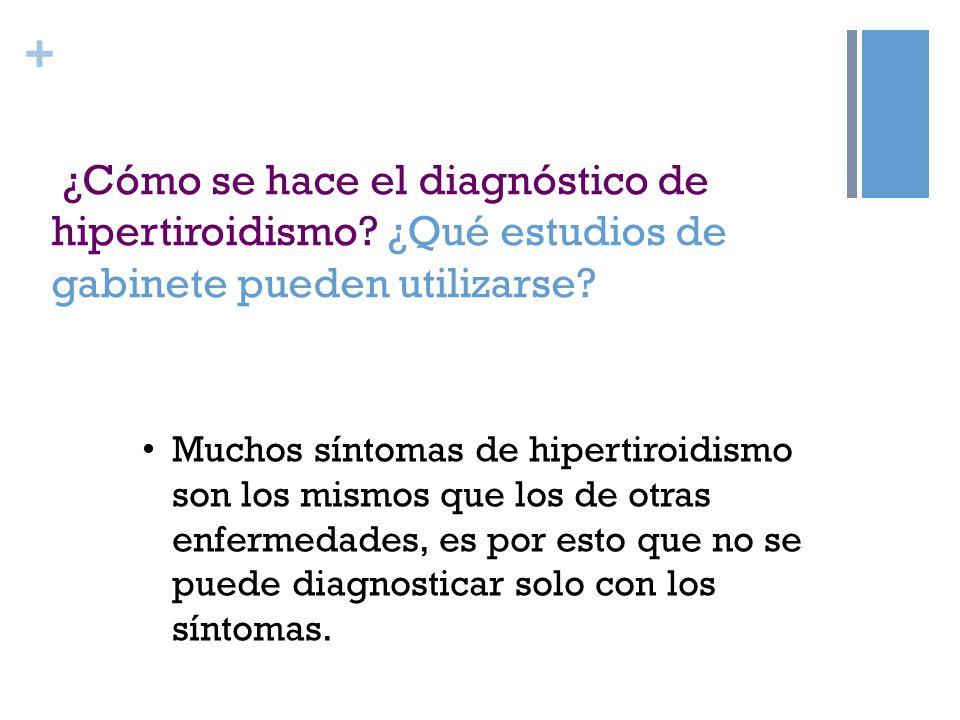 + ¿Cómo se hace el diagnóstico de hipertiroidismo? ¿Qué estudios de gabinete pueden utilizarse? Muchos síntomas de hipertiroidismo son los mismos que