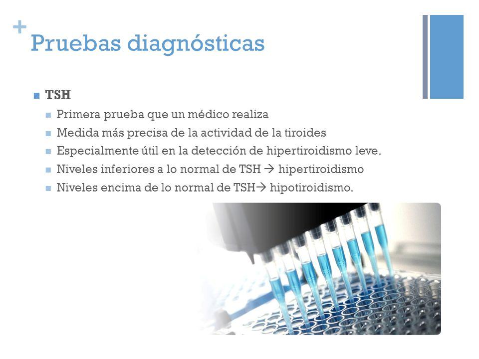 + Pruebas diagnósticas TSH Primera prueba que un médico realiza Medida más precisa de la actividad de la tiroides Especialmente útil en la detección d