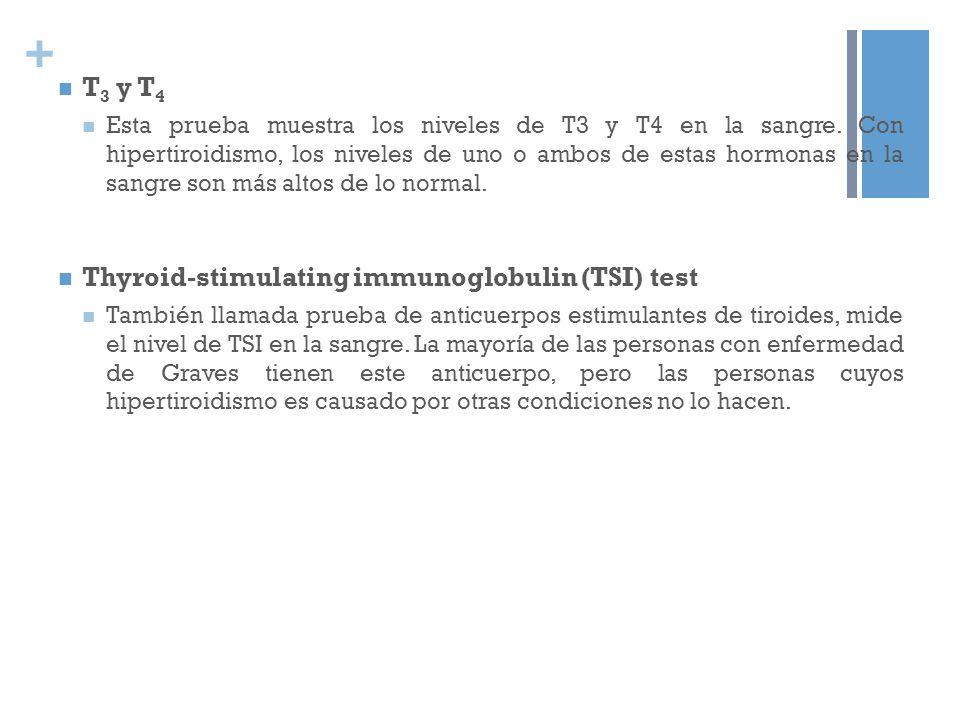 + T 3 y T 4 Esta prueba muestra los niveles de T3 y T4 en la sangre. Con hipertiroidismo, los niveles de uno o ambos de estas hormonas en la sangre so