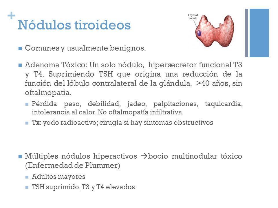 + Tiroiditis Inflamación y daño de las células tiroideas las hormonas almacenadas se filtran fuera de la glándula Al principio aumentan niveles de T3 y T4 debido a su liberación aguda en sangre, dando lugar a hipertiroidismo que tiene una duración de 1 o 2 meses.
