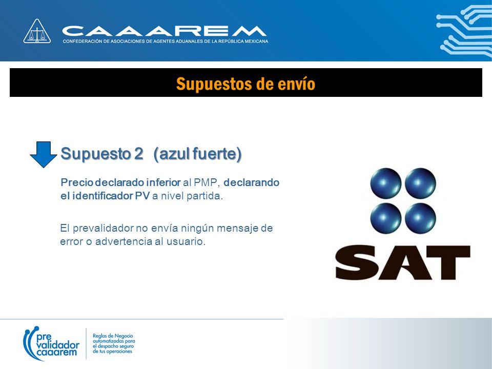Supuestos de envío Supuesto 2 (azul fuerte) Precio declarado inferior al PMP, declarando el identificador PV a nivel partida.