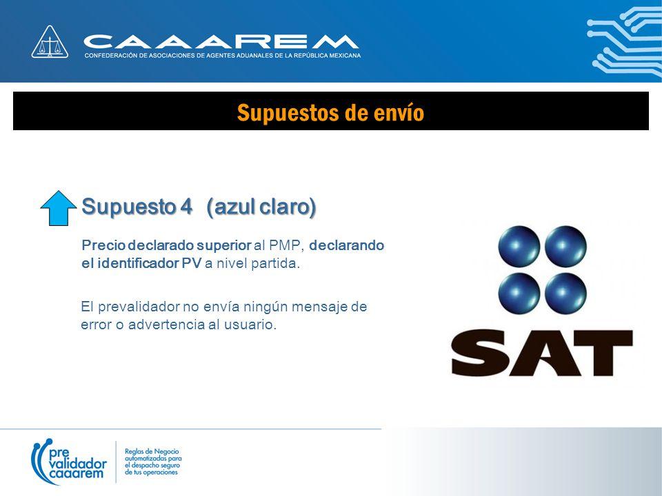 Supuestos de envío Supuesto 4 (azul claro) Precio declarado superior al PMP, declarando el identificador PV a nivel partida.