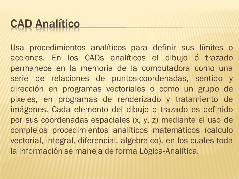 Usa procedimientos analíticos para definir sus límites o acciones.