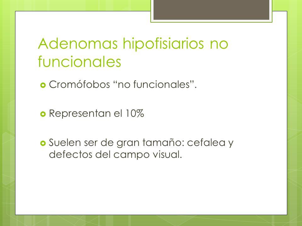 Adenomas hipofisiarios no funcionales Cromófobos no funcionales. Representan el 10% Suelen ser de gran tamaño: cefalea y defectos del campo visual.