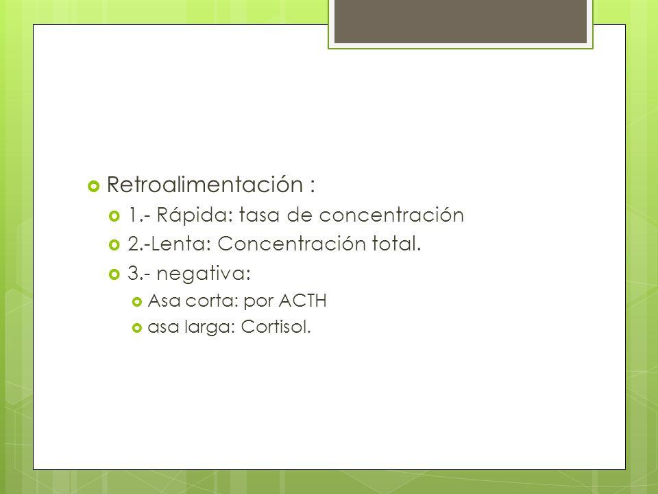 Retroalimentación : 1.- Rápida: tasa de concentración 2.-Lenta: Concentración total. 3.- negativa: Asa corta: por ACTH asa larga: Cortisol.