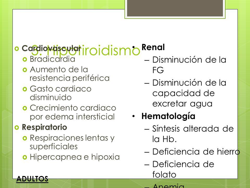 3. Hipotiroidismo Cardiovascular Bradicardia Aumento de la resistencia periférica Gasto cardiaco disminuido Crecimiento cardiaco por edema intersticia