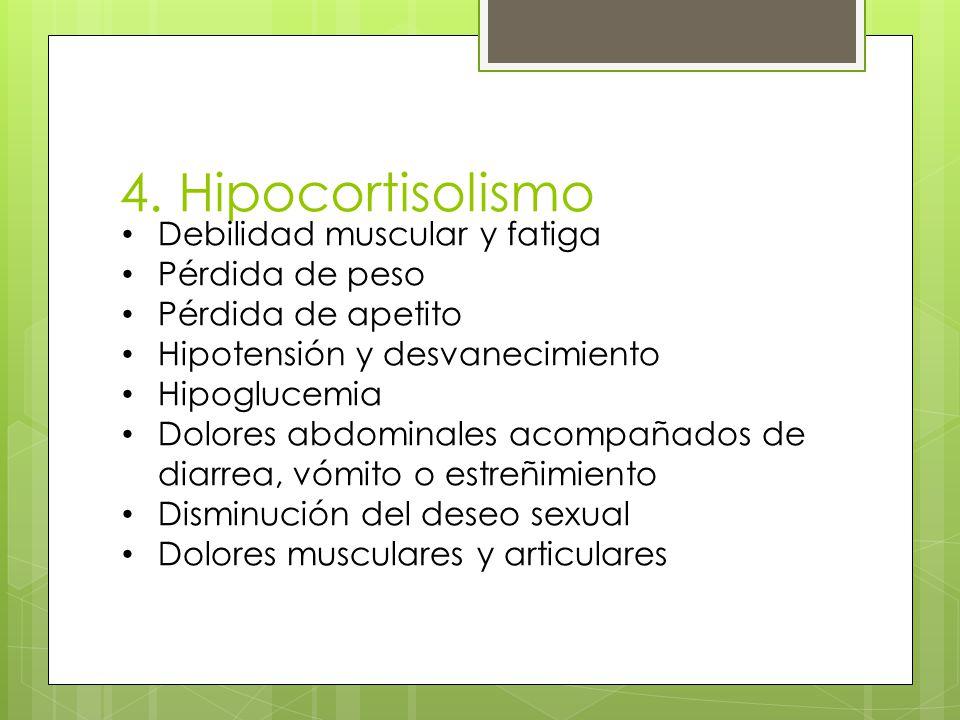 4. Hipocortisolismo Debilidad muscular y fatiga Pérdida de peso Pérdida de apetito Hipotensión y desvanecimiento Hipoglucemia Dolores abdominales acom