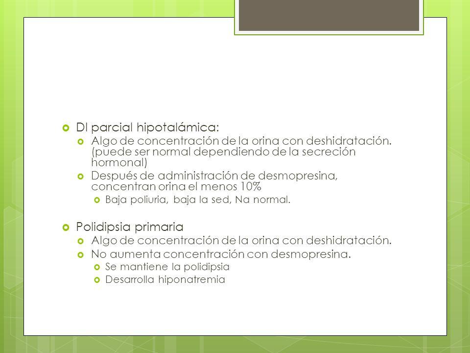 DI parcial hipotalámica: Algo de concentración de la orina con deshidratación. (puede ser normal dependiendo de la secreción hormonal) Después de admi